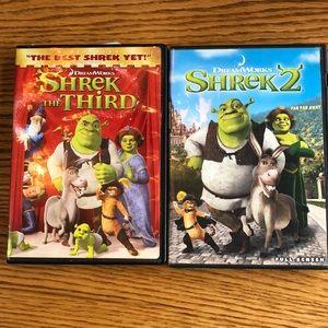 Shrek Shrek two and Shrek the third